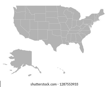 Blank map of United States of America - USA. Simplified dark grey silhouette vector map on white background.