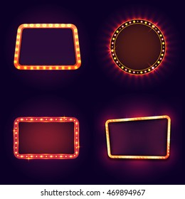 Blank marquee Frame with illuminated light bulb.