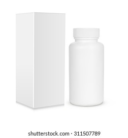 Blank medicine bottle vector illustration. Package of drugs with package, box