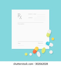 Blank Medicine Prescription Form with Pills Scattered on It. Vector EPS 10