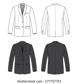 Blank men's blazer in front and back views. Vector illustration. Isolated on white.