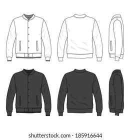 Blank men's bomber jacket with buttons in front, back and side views. Isolated on white.