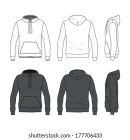Blank Men's hoodie in front, back and side views. Vector illustration. Isolated on white.