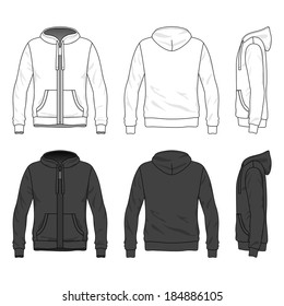 Blank Men's hoodie with zipper in front, back and side views. Vector illustration. Isolated on white.