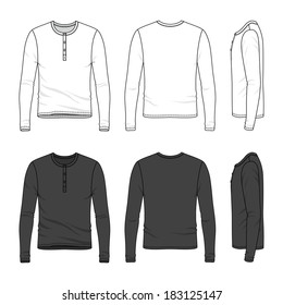 Blank Men's long sleeve top in front, back and side views. Top neck with button placket. Vector illustration. Isolated on white.