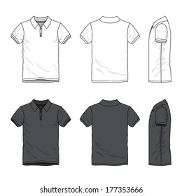 Blank Men's polo t-shirt with zip neck in front