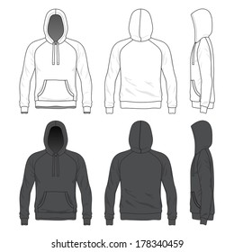 Blank Men's raglan hoodie in front, back and side views. Vector illustration. Isolated on white.