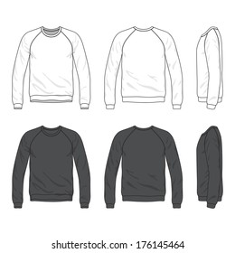 Blank Men's raglan long sleeve sweatshirt in front, back and side views