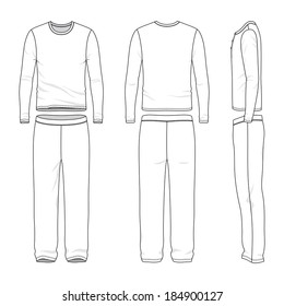 Blank men's sleepwear in front, back and side views. Vector illustration. Isolated on white.