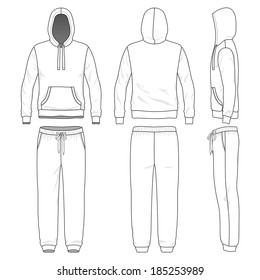 Blank men's sweat suit in front, back and side views. Vector illustration. Isolated on white.