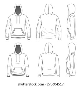 Blank Men's and Women's hoodies in front, back and side views.