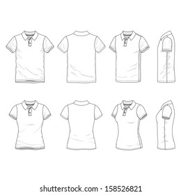 Blank Men's and Women's polo t-shirt in front, back and side views