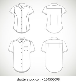 Blank Men's and Women's shirt with short sleeves in front and back views