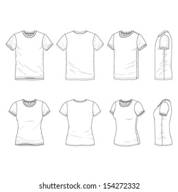 Blank Men's and Women's t-shirt in front, back and side views