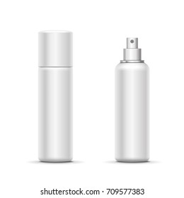 Blank metal bottle with sprayer cap. Cosmetic deodorant template or freshener. Vector