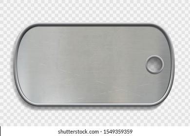 Blank-Metal-Hundeschild einzeln auf transparentem Hintergrund. Militärsoldat mit Ausweis. Vorlage für die Vektorillustration.