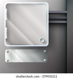 blank metal  plastic box with hinges and handle on the wall with wires and metal  glass plate with bolts