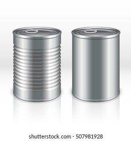Blank metal products container, tin cans isolated on transparent checkered background. vector mockups. Steel bank product for food, tincan aluminum closed illustration