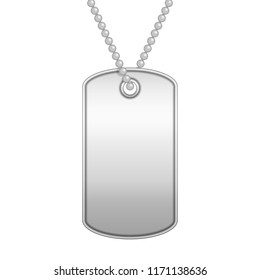Blank metal tag on a chain. Military soldier ID token in realistic style. Army dog tag isolated on white background. Empty identification plate. Vector illustration EPS 10.