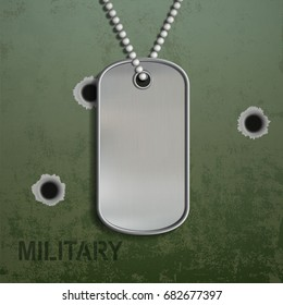 Blank metal tags hanging on a chain. ID military soldier. On the background of armor with holes from bullets. Stock vector illustration.