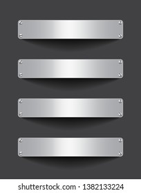 Blank metallic banner set attached with screws on dark background. Empty gray tablets. Billboards. Space for text. Vector illustrtion