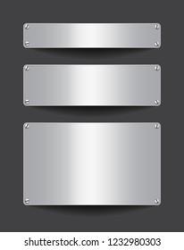 Blank metallic banners attached with screws on dark background. Empty gray templates. Space for text. Vector illustration