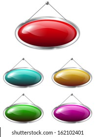 Blank metallic banners hanging on the wall. Colorful glossy oval tablets. Vector illustration