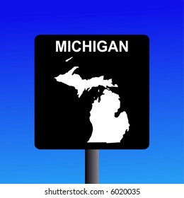 Blank Michigan highway sign on blue illustration