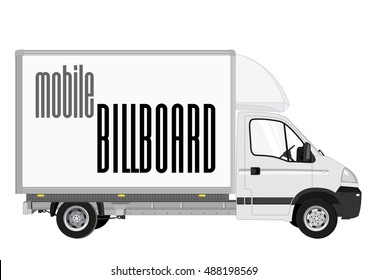 Blank mobile billboard template isolated on white background. White Truck with solid and flat color design.