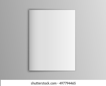 Blank mock up vector portrait cover magazine isolated on gray.