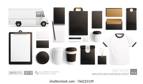 Blank Mockup for corporate identity and branding Coffee Cafe, Restaurant Street Food. Realistic MockUp set of food truck, uniform, envelope, cup, paper pack, menu. Coffee, Fast food package