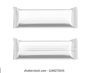 Blank mockup of flow pack. Front and rear side. Vector illustration isolated on white background. It can be used in the adv, promo, package, etc. EPS10.