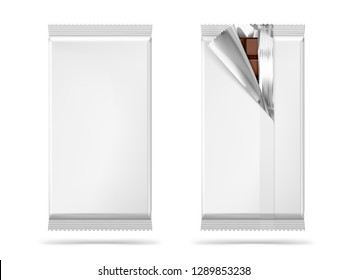 Blank mockups of flow packages. Vector illustration isolated on white background. Front and rear view. It can be used in the adv, promo, package, etc. EPS10