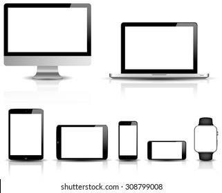 blank modern digital devices vector isolated