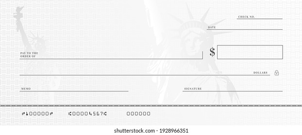 Blank money check template. Fake stimulus cheque mockup. Bank checkbook background