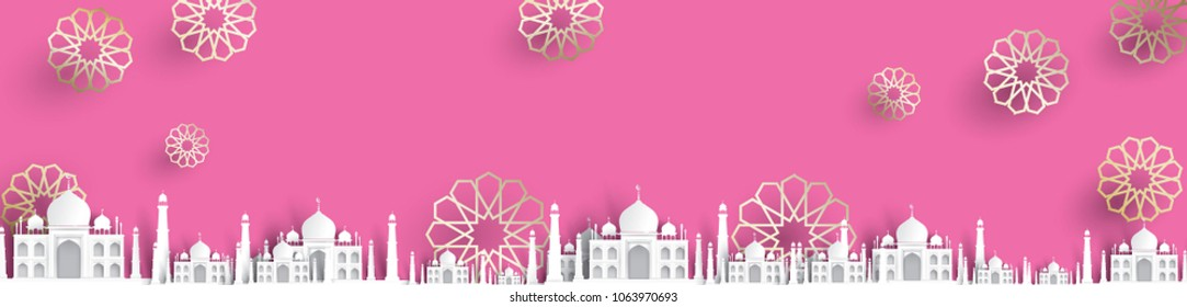 blank mosque text background, modern elegant islamic design