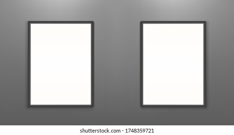 Blank movie posters mockup. White picture frames on gray wall background in cinema, theater, museum or gallery. Empty advertising banners with black border realistic 3d vector illustration, mock up