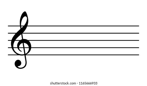 Blank music staff isolated on white background