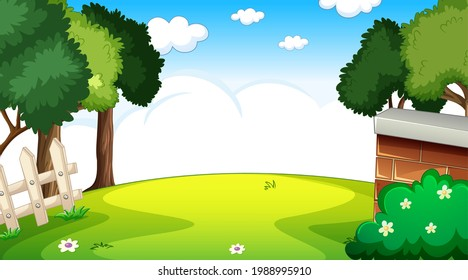 Blank nature park landscape at daytime scene with many clouds in the sky illustration