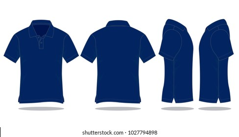 Blank Navy Blue Polo Shirt Vector For Template.Front, Back And Side Views.