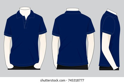 Blank Navy Blue Short Sleeves Polo Shirt Vector For Template. Front, Back and Side Views.