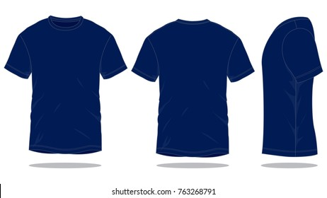 Blank Navy Blue T-Shirt Vector For Template.Front, Back And Side Views.