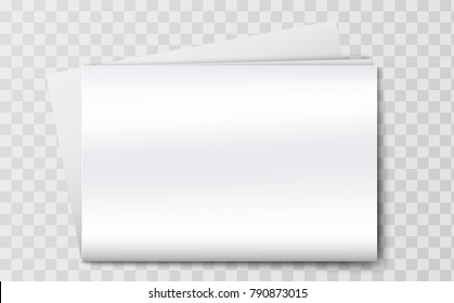 Blank newspaper mockup isolated on the transperant background. Vector illustration. Realistic 3d template of an empty clean white newspaper for images and news from the world of business
