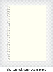 Blank note book page mock up with torn edge. Realistic vector illustration