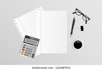 Blank note paper with calculator, eyeglasses, coffee cup and pen on gray background, Top view. Vector illustration