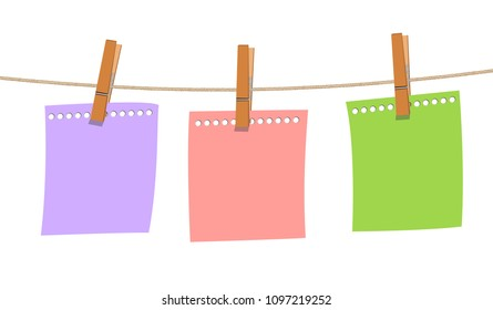 blank note paper hanging on rope with wood clip on white background, vector memo concept