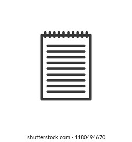 Blank notebook with lines for writing and spiral binding. Vector thin line icon