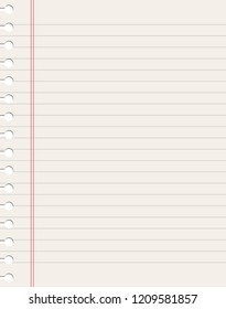 Blank notebook page sheet. Lined vector empty notebook page with grey and red lines.
