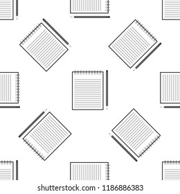 Blank notebook and pencil with eraser icon seamless pattern on white background. Flat design. Vector Illustration