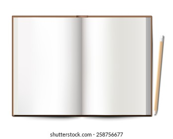 blank notebook spread with pencil on white background